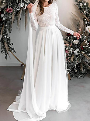 cheap Wedding Dresses-A-Line Wedding Dresses Jewel Neck Floor Length Chiffon Lace Long Sleeve Country Plus Size with Lace Embroidery 2020