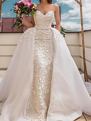 cheap Wedding Dresses-A-Line Wedding Dresses Sweetheart Neckline Sweep / Brush Train Polyester Strapless Country Plus Size with Embroidery 2020