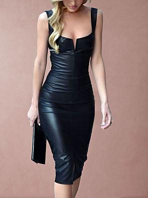 cheap Evening Dresses-Women's 2020 Black Dress Sexy Spring & Summer Party Bodycon Sheath Solid Color Camisole Deep U Plastic Drop S M