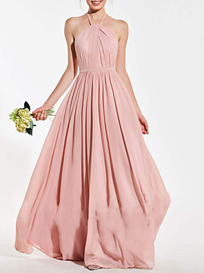 cheap Bridesmaid Dresses-A-Line Halter Neck Floor Length Chiffon Bridesmaid Dress with Pleats / Open Back