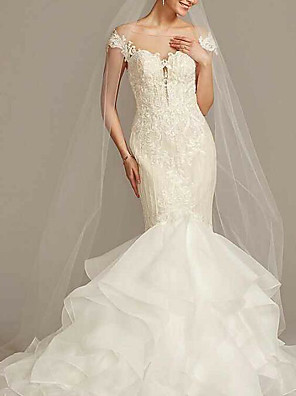 cheap Wedding Dresses-Mermaid / Trumpet Wedding Dresses Jewel Neck Sweep / Brush Train Tulle Polyester Cap Sleeve Country See-Through Plus Size with Ruffles Embroidery 2020
