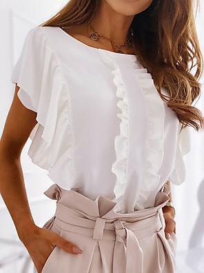 cheap Women's Blouses & Shirts-Women's Blouse Solid Colored Lace Trims Asymmetric Tops White Blushing Pink