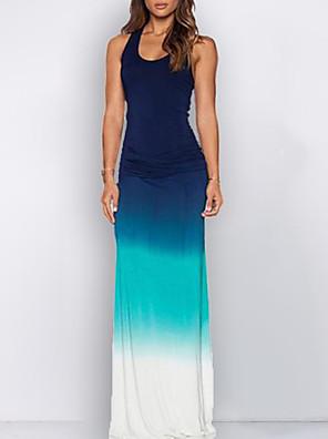 cheap Maxi Dresses-Women's Maxi Sheath Dress - Sleeveless Color Block U Neck Slim Blue S M L XL XXL XXXL XXXXL XXXXXL XXXXXXL