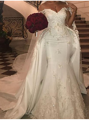cheap Wedding Dresses-Mermaid / Trumpet Wedding Dresses Off Shoulder Court Train Polyester Cap Sleeve Country Plus Size with Lace Insert Appliques 2020