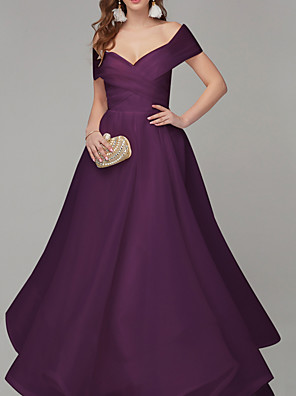 cheap Prom Dresses-Ball Gown Minimalist Purple Engagement Prom Dress Off Shoulder Short Sleeve Sweep / Brush Train Organza with Sleek Ruched 2020