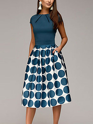cheap Prom Dresses-Women's Knee Length Dress A-Line Dress - Short Sleeve Polka Dot Geometric Print Ruched Patchwork Print Spring & Summer 1950s Elegant Going out 2020 Black Blue Red S M L XL XXL
