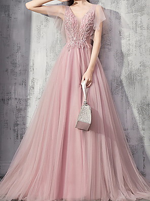 cheap Wedding Dresses-Ball Gown Beautiful Back Engagement Formal Evening Dress V Neck Short Sleeve Sweep / Brush Train Polyester with Pleats Appliques 2020