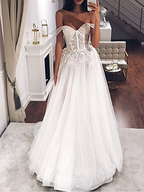 cheap Wedding Dresses-A-Line Wedding Dresses Off Shoulder Sweep / Brush Train Tulle Short Sleeve Country Plus Size with Appliques 2020