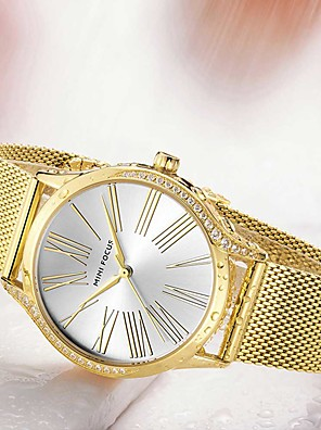cheap Quartz Watches-Women's Steel Band Watches Quartz Modern Style Stylish Casual Casual Watch Stainless Steel Silver / Gold / Rose Gold Analog - Rose Gold Gold Silver One Year Battery Life / Imitation Diamond
