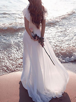 cheap Wedding Dresses-A-Line Wedding Dresses Plunging Neck Sweep / Brush Train Chiffon Chiffon Over Satin Short Sleeve Country Beach Plus Size with Lace Sashes / Ribbons Ruffles 2020