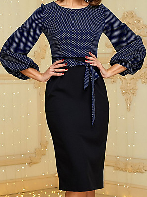 cheap Women's Dresses-Women's Sheath Dress - Long Sleeve Polka Dot Square Neck Elegant Slim Navy Blue S M L XL XXL
