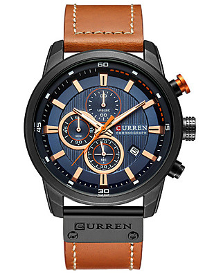 cheap Quartz Watches-CURREN Men's Dress Watch Quartz Formal Style Stylish Luxury Water Resistant / Waterproof PU Leather Analog - Rose Gold White / Brown Black / Rose Gold / Calendar / date / day / Three Time Zones
