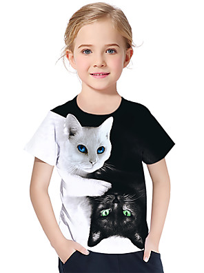 cheap Boys' Tops-Kids Toddler Girls' Active Basic Cat Fantastic Beasts Color Block 3D Animal Print Short Sleeve Tee White