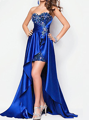 cheap Prom Dresses-A-Line Sparkle Blue Party Wear Prom Dress Sweetheart Neckline Short Sleeve Asymmetrical Lace Stretch Satin with Sequin Overskirt 2020