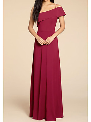 cheap Bridesmaid Dresses-A-Line One Shoulder / Spaghetti Strap Floor Length Stretch Satin Bridesmaid Dress with Pleats