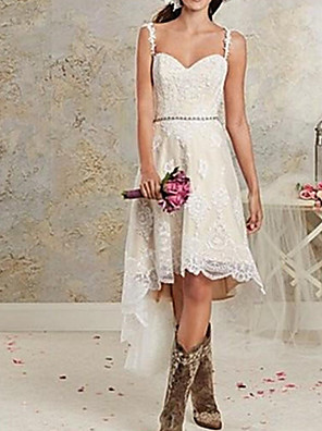 cheap Bridesmaid Dresses-A-Line Wedding Dresses Spaghetti Strap Asymmetrical Lace Tulle Sleeveless Country Plus Size with Lace 2020