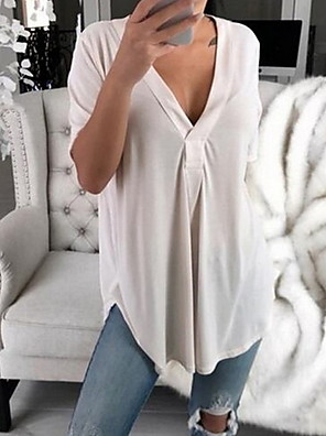 cheap Oversize Sweater-Women's T-shirt Solid Colored Loose Tops V Neck White Black Blue / Short Sleeve