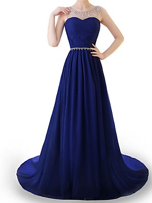 cheap Evening Dresses-A-Line Elegant Blue Engagement Formal Evening Dress Illusion Neck Sleeveless Sweep / Brush Train Polyester with Beading Draping 2020