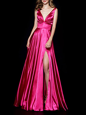 cheap Evening Dresses-A-Line Minimalist Party Wear Prom Dress V Neck Sleeveless Floor Length Satin with Pleats Split 2020