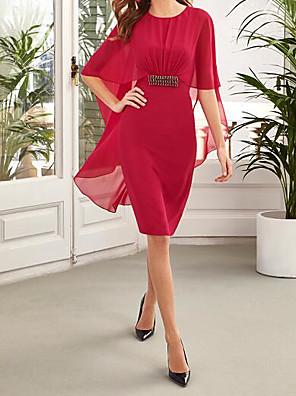 cheap Romantic Lace Dresses-Sheath / Column Minimalist Red Wedding Guest Cocktail Party Dress Jewel Neck Half Sleeve Knee Length Chiffon with Sash / Ribbon 2020
