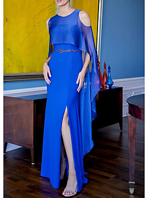 cheap Mother of the Bride Dresses-Sheath / Column Mother of the Bride Dress Elegant Jewel Neck Floor Length Jersey Sleeveless with Split Front 2020