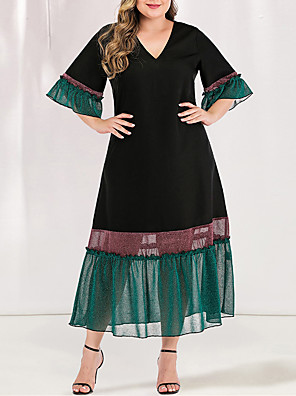 cheap Plus Size Dresses-Women's Plus Size Maxi Blue & White Black & Red A Line Dress - Short Sleeves Color Block Solid Color Pleated Patchwork V Neck Casual Elegant Daily Flare Cuff Sleeve Loose Green L XL XXL XXXL XXXXL