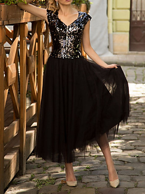 cheap Prom Dresses-A-Line Sparkle Black Party Wear Cocktail Party Dress V Neck Short Sleeve Ankle Length Tulle Sequined with Sequin 2020