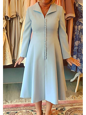 cheap Bridesmaid Dresses-A-Line Mother of the Bride Dress Sweet Queen Anne Ankle Length Satin Long Sleeve with Buttons 2020