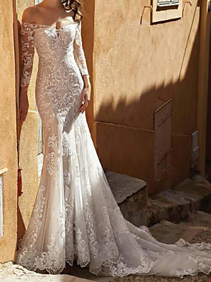 cheap Wedding Dresses-Mermaid / Trumpet Wedding Dresses Off Shoulder Sweep / Brush Train Lace Tulle 3/4 Length Sleeve Country Plus Size with Embroidery 2020
