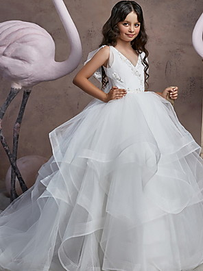 cheap Flower Girl Dresses-Ball Gown Floor Length Party / Birthday Flower Girl Dresses - POLY Sleeveless V Neck with Embroidery / Solid / Tiered