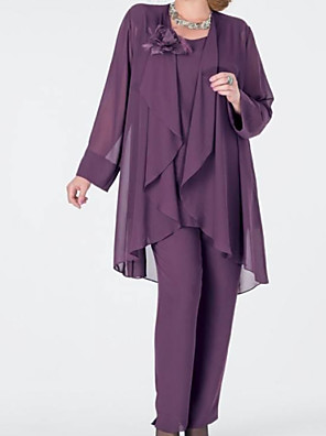 cheap Mother of the Bride Dresses-Pantsuit / Jumpsuit Mother of the Bride Dress Elegant Jewel Neck Floor Length Chiffon Long Sleeve with Appliques Flower 2020