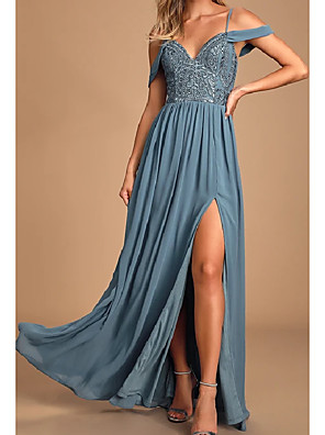 cheap Bridesmaid Dresses-A-Line Straps / Off Shoulder Floor Length Chiffon / Lace / Shantung Bridesmaid Dress with Lace / Split Front / Open Back