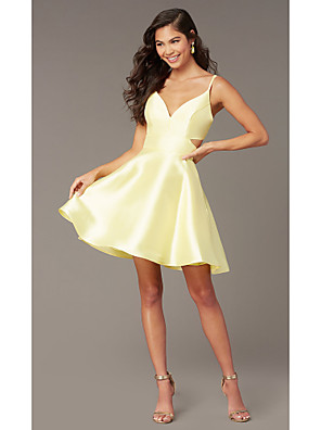 cheap Cocktail Dresses-A-Line Beautiful Back Flirty Homecoming Cocktail Party Dress Spaghetti Strap Sleeveless Short / Mini Satin with Sleek 2020