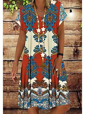 cheap Print Dresses-Women's Shirt Dress - Short Sleeves Print V Neck Red Orange Green S M L XL XXL XXXL XXXXL XXXXXL