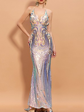 cheap Evening Dresses-Mermaid / Trumpet Beautiful Back Sparkle Party Wear Prom Dress Spaghetti Strap Sleeveless Sweep / Brush Train Polyester with Sequin 2020