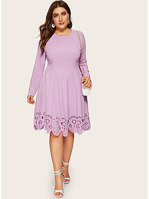 cheap Women's Dresses-Women's Plus Size A Line Dress - Long Sleeve Solid Color Cut Out Patchwork Spring & Summer Basic Daily Loose Wine Purple Navy Blue XL XXL XXXL XXXXL XXXXXL