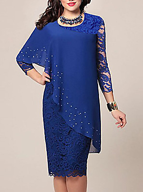 cheap Special Occasion Dresses-Women's Plus Size Bodycon Knee Length Dress - 3/4 Length Sleeve Solid Color Lace Chiffon Spring Summer For Mother / Mom Going out Blue Green S M L XL XXL XXXL XXXXL XXXXXL