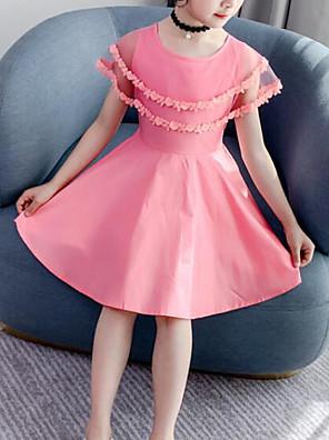 cheap Girls' Dresses-Kids Girls' Cute Street chic Patchwork Mesh Patchwork Sleeveless Dress Blushing Pink