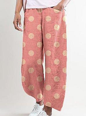 cheap Women's Pants-Women's Basic Loose Linen Wide Leg Pants - Polka Dot Blue Fuchsia Khaki S / M / L