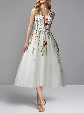 cheap Prom Dresses-A-Line Floral White Party Wear Prom Dress V Neck Sleeveless Tea Length Lace Tulle with Embroidery Appliques 2020