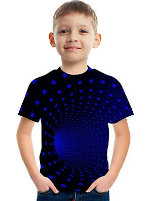 cheap Boys' Tops-Kids Boys' Basic Street chic Color Block 3D Rainbow Print Short Sleeve Tee Blue