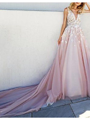 cheap Prom Dresses-A-Line Wedding Dresses Plunging Neck Watteau Train Lace Tulle Sleeveless Country Sexy Plus Size with Lace Appliques 2020