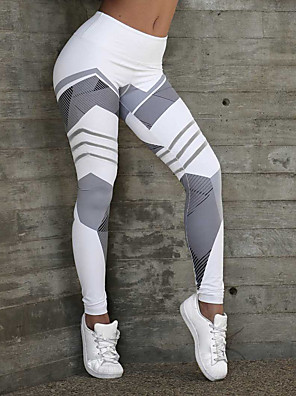 cheap Leggings-Women's Sports / Yoga Sporty / Basic Legging - Geometric, Print Mid Waist White Black S M L