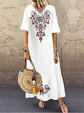 cheap Summer Dresses-Women's Plus Size Maxi Dress - Short Sleeves Tribal Print Summer V Neck Boho Holiday Vacation Beach Loose 2020 White Red Navy Blue M L XL XXL XXXL XXXXL XXXXXL