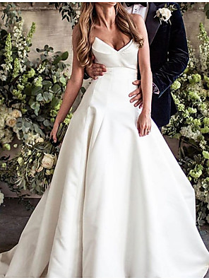 cheap Wedding Dresses-A-Line Wedding Dresses V Neck Court Train Polyester Sleeveless Country Plus Size with Draping 2020