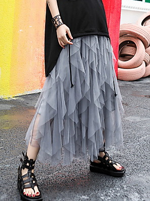 cheap Women's Skirts-Women's Swing Skirts - Solid Colored Black Gray One-Size