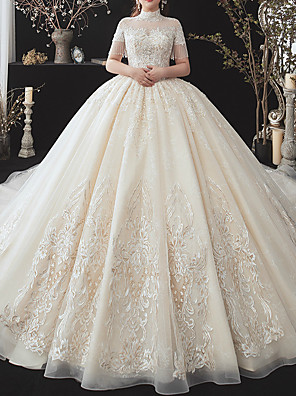 cheap Wedding Dresses-Ball Gown Wedding Dresses High Neck Watteau Train Lace Tulle Short Sleeve Formal Wedding Dress in Color with Appliques 2020