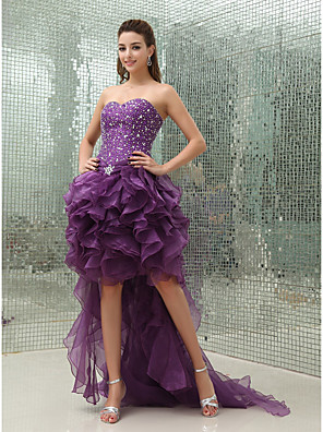 cheap Prom Dresses-Ball Gown Luxurious Sparkle Wedding Guest Prom Dress Sweetheart Neckline Sleeveless Asymmetrical Organza with Beading 2020