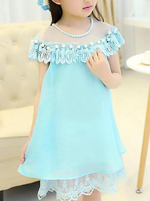 cheap Girls' Dresses-Kids Girls' Cute Street chic Patchwork Ruffle Mesh Patchwork Sleeveless Dress Fuchsia