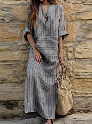 cheap Casual Dresses-Women's Maxi Loose Dress - 3/4 Length Sleeve Striped V Neck Loose Gray S M L XL XXL XXXL XXXXL XXXXXL